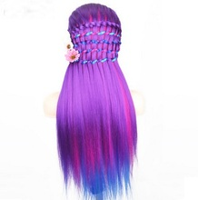 CAMMITEVER 20 inch Purple Rainbow Mannequin Head Hair Styling Hair Training Heads Cosmetology Display Model Colorful Wig