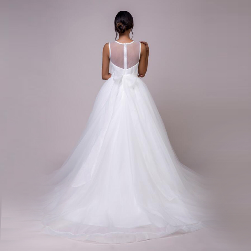 LORIE Beach Wedding Dresses O-Neck Beaded Sashes Princess Tulle Cheap Bridal Dress Free Shipping White wedding Gown Custom Made 7