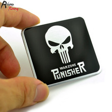 Rhino Tuning Aluminum The Punisher Skull Car Badge Rear Boot Fender Emblem Sticker For Golf A1 A3 Qashqai Auto Styling 560(China)
