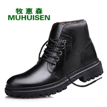 Martin Boots 2016 Winter Genuine Leather Luxury Men Boots Size(38-44) Color(Black+Brown) Warm Keep Fashion Boots Men Shoes