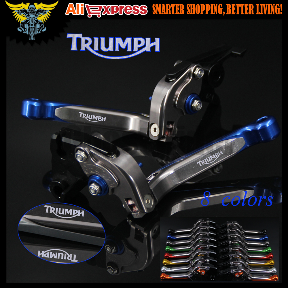 Blue+Titanium 8 Colors CNC Adjustable Extendable Motorcycle Brake Clutch Levers For Triumph TIGER 800/XC 2011 2012 2013 2014<br>
