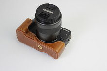 Free Shipping Factory Luxury Digital Camera Half Body Bag Case Imitation Leather Case for Canon EOS M3 Brown(China)