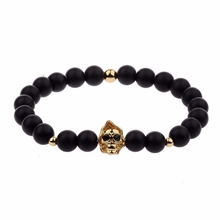 Fahion Skull Head Artificial Black Beads Bracelet Unisex Top Quality 4 Colors Alloy Healing Balance Energy Bracelet Gift AB577