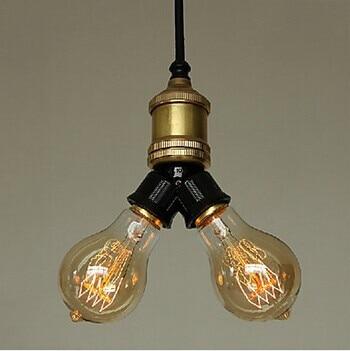 2 Lights Minimalist Copper Edison Bulb Retro Loft Style Pendant Lights, For Home Lightings bar dining room,E27 Bulb Included<br>