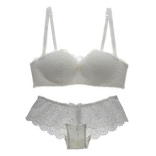 Women Adjustable Lace Bra Set Wire Free Push-up Padded Lingerie Underwear Cup B PY2