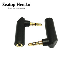 1Pcs New Type Gold 3.5mm 4Pole 90Degree Right Angle Female to 3.5mm 4Pole Male Audio Stereo Plug L Shape Jack Adapter Connector(China)