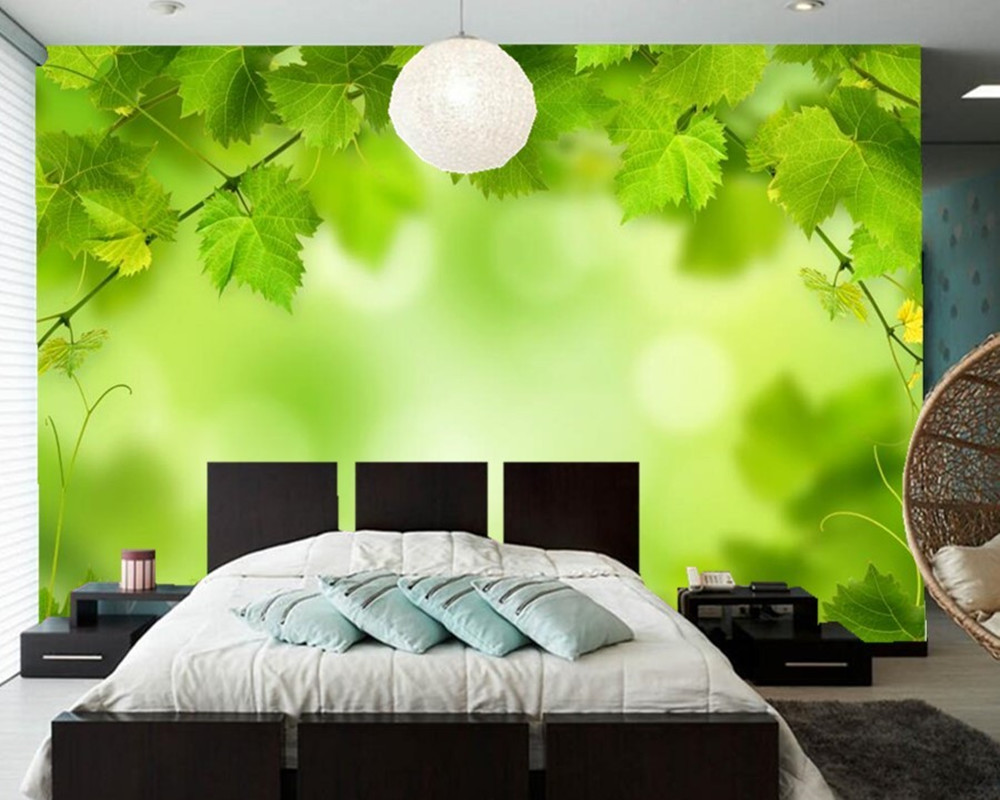 Custom Foliage Green Nature wallpaper papel de parede,hotel restaurant living room TV wall bedroom 3d mural modern wall covering<br>