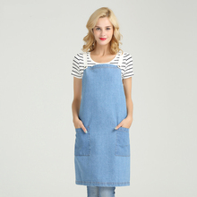 New denim apron cotton adult cafe shop men and women overalls restaurant kitchen cooking baking aprons white blue logo