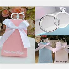 100 Pcs New Arrival 3 colours Clear Glass Diamond Ring Wedding Favor Candy Boxes Gift Box Sugar Candy Box With white Ribbons