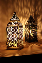 Vintage Metal Hollow Candle Holder Articles White Black Moroccan European Candlestick Hanging Lantern 28.5*10cm(China)