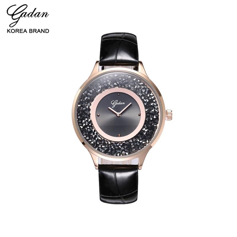 Ladies Fashion Quartz Watch Leather Women Rhinestone Casual Dress Ladies Watches Pink Gold Crystal mujer reloje 2017 montre femm<br><br>Aliexpress