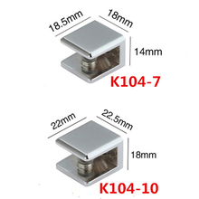 10pcs Glossy shiny Square shelf Holder Glass Clamp bracket Can clamp 5 to 6mm /10mm material zinc alloy(China)