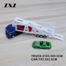 ZXZ Scale 1:72 Truck Trailer Carrier Vehicle with 2 Miniature Alloy Cars Red and Green Nice Toy For Boy's Birthday Gift