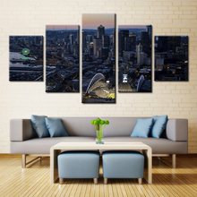 No Frames 5 Panel Art Night City View Landscape Canvas Spray Paintings Prints Posters On The Wall Modular Pattern For Kitchens