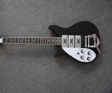 New Factory supplying Free Shipping  left hand  RIC black electric guitar  HHH pickups electric guitar with bigsby