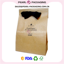 Custom Printed Fancy Brown Kraft Paper Shopping Bag with Bow Tie Ribbon, 500 pcs/Set(China)