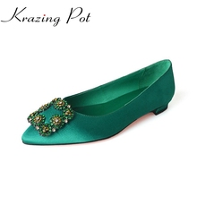 fashion big size brand shoes green crystal shallow thick heel slik women pumps pointed toe party causal office lady shoes L13