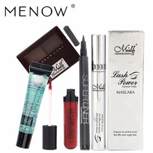 Menow Makeup 5Pcs/set Curl Mascara + Sexy Lip Gloss + Two-color Eyebrow Powder + Waterproof Eyeliner + Clean Remover Cream 4198(China)