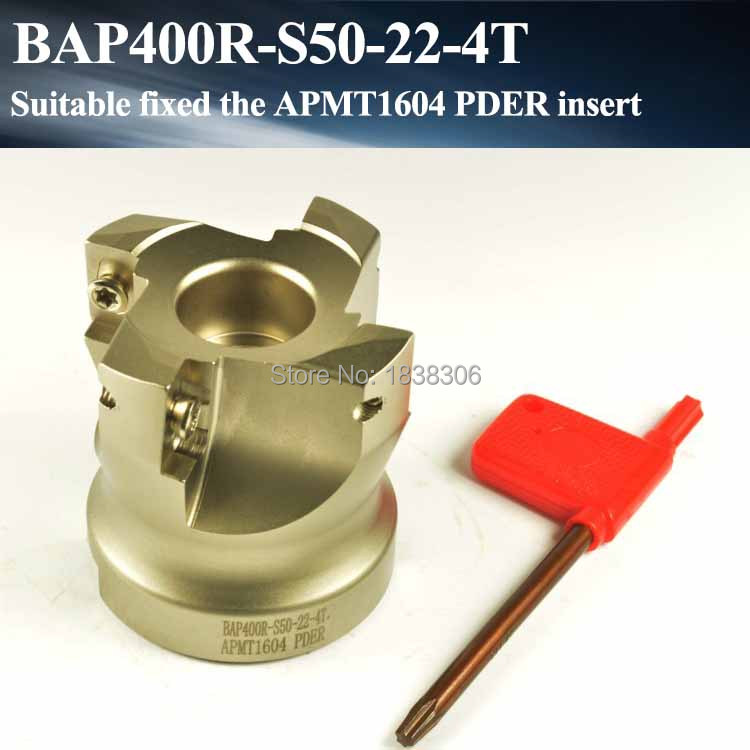 Face mill end milling cuter 1pcs BAP 400R 50-22-4T 90 Degree Right Angle Shoulder Face Mill ,CNC Milling Cutter, For APMT1604<br>