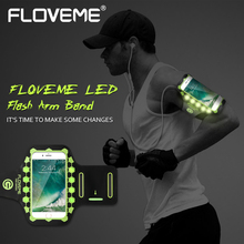 FLOVEME Universal 5.5 inch Sports Armband For iPhone 6 6S Plus LED Flash Thin Soft Running Phone Pouch For iPhone 7 Plus Armband(China)