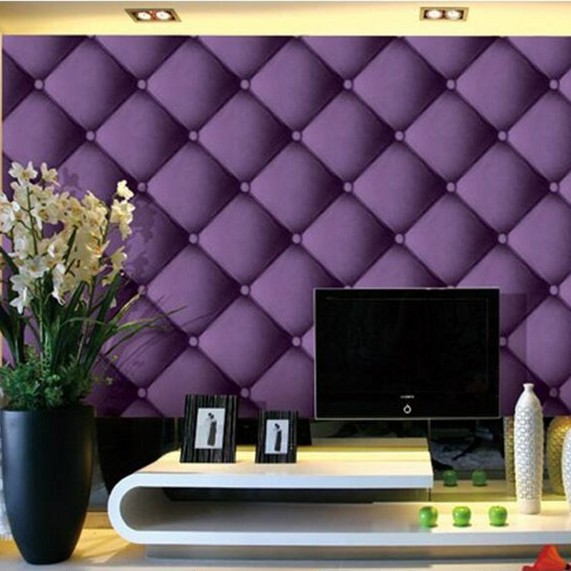 beibehang Purple imitation leather pattern soft package 3D cubes square grid wallpaper KTV TV backdrop bedroom living room<br>