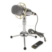 Professional 3.5mm Studio Condenser Microphone Mic For Skype PC Notebook Computer with Desktop Tripod Stand USB Adapter