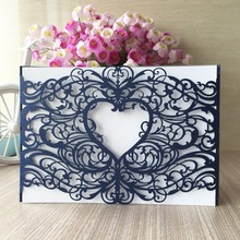 30pcs/lot 2017 china paper craft laser cut 250gsm pearl paper wedding party decoration invitation card heart greeting card QJ-52