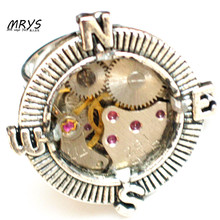 steampunk gothic punk rock hiphop compass watch parts adjustable one ring men women boy girl handmade vintage jewelry for party(China)