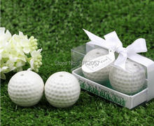 Lowest price 20pcs=10boxes New Wedding Favors White Golf Ball Salt and Pepper Shakers Bridal Shower Favor and Gift for Men(China)