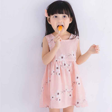 Children Girls Dresses Kids Girl Sleeveless Morning Glory Print Cotton and Linen Dress Baby Girl Spring Summer Clothes For Girl