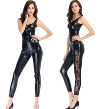 Buy Sexy Black Faux Leather Catsuit Gothic Fetish Clubwear Lingerie Stretch Lace Leather Bodysuit Wetlook Vinyl Leotard Costume