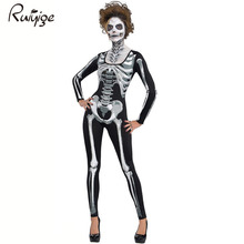 Ruiyige 2017 Women New Skeleton Skull Print Long Sleeves Bodycon Halloween Costume Adult Fancy Party Catsuit Jumpsuit Costume(China)