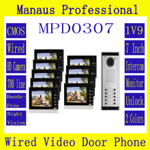 New Style Multi-storey 1V9 Intercom System One to Nine Video Door Bell 7 Inch Display 6 IR Lamps Cable Visible Interphone D307b
