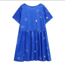2017 new Harajuku wind star moon ball code printing sleeve short sleeve dress