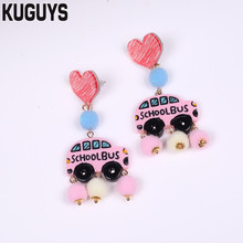 KUGUYS Peach Heart Pink School Bus Women Dangle Earrings Drop Earring Woman Cute Acrylic Jewelry Accessories Valentines Gift(China)