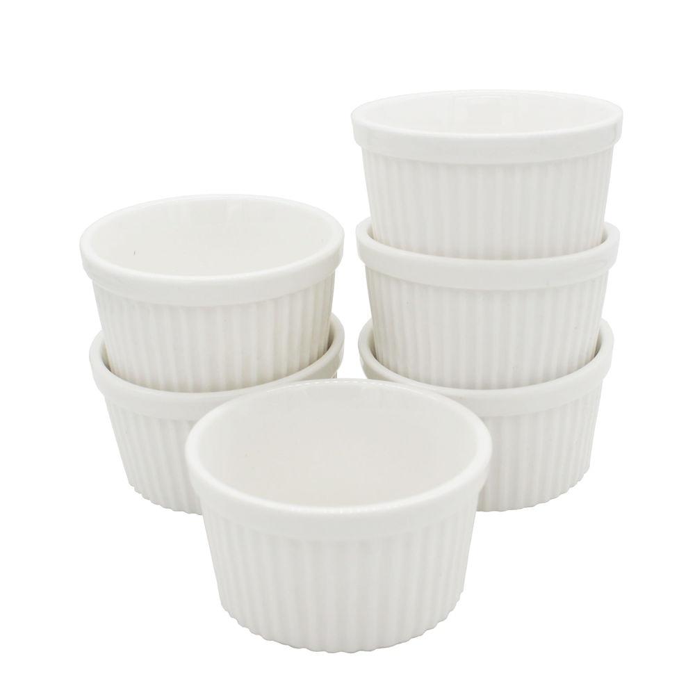 Cerámica Blanca 9 Cm Redonda Moldes Souffle platos Crema Cocina Platos Horno seguro.