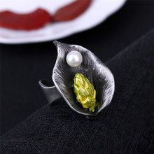 AlooWay Personality design flower ring fashion simulated-pearl plated rings Flea market supply