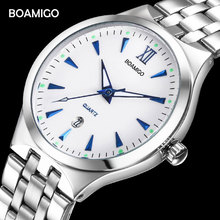 Buy BOAMIGO Top Brand Couple Watches Fashion Casual Men Quartz Watch Full Steel Date Women Lover Couple Wristwatches 30m Waterproof for $9.60 in AliExpress store