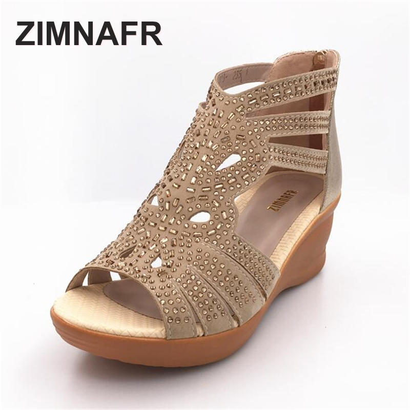 ZIMNAFR BRAND 2017 summer female sandals genuine leather fish mouth sandals cowhide hollow diamond comfortable GLADIATOR SANDALS<br>