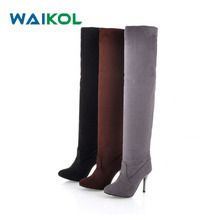 Waikol Women's Shoes Autumn Winter Warm Suede Over the Knee Boots Sexy Women Thin Heels Thigh High Boots Plus Size Overknee