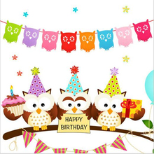 Buy Baby birthday Party Decoration 3m Non-woven cartoon owl Garland wedding event Party supplies photo Props Decorations garlands-B for $2.27 in AliExpress store