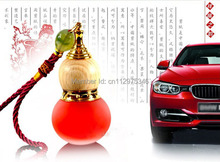 Wholesale Essential Oil perfume bottle Empty Glass Chinese gourd pendant car pendant hanging Ornament + Free Dropper Tool PB23(China)