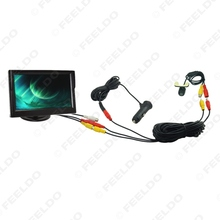 "Car Cigarette Lighter Power RCA Video Cable 5"" Stand-alone Monitor Rear View Camera Kits Fast Quick Install #FD-2257"