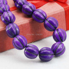 12mm Purple Pumpkin DIY Loose Beads Turkey Howlite Stone For Necklace Bracelet Women Girls Gifts Accessories Jewelry Making Gems(China)