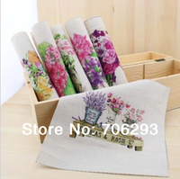 Hand dyed 6 Assorted  Cotton Linen Printed Quilt Fabric For DIY Sewing Patchwork Home Textile Decor 19x20cm Flowers  series