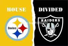Pittsburgh Steelers vs Oakland Raiders House Divided Rivalry Flag 90x150cm metal grommets(China)