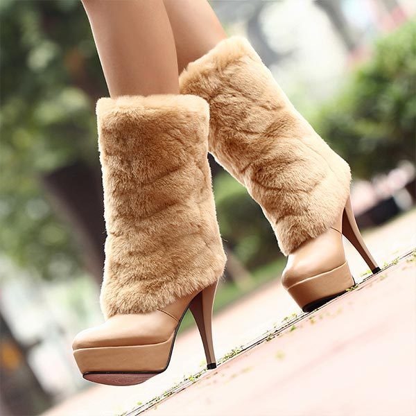 2014 winter warm high long snow boots  PU leather tassel womens shoes Medium leg winter boots Fashion warm fur boots V004<br><br>Aliexpress