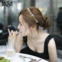 JINSE Antique hair jewelry flower hair headband hollow rose flower hair jewelry hairbands gold Color for women HJW003