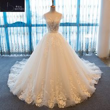 Buy High-end Custom made Lace Ball Gown Wedding Dress 2018 Illusion Sweetehart Chapel Train Apliques Vestido de Noiva Bride Dresses for $309.00 in AliExpress store