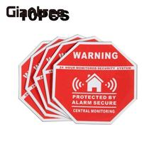 Giantree 10 pcs Home Alarm Security Warning Sign Adhesive Sticker Decal Window Vinyl Decal Monitored Security Warning Sticker(China)